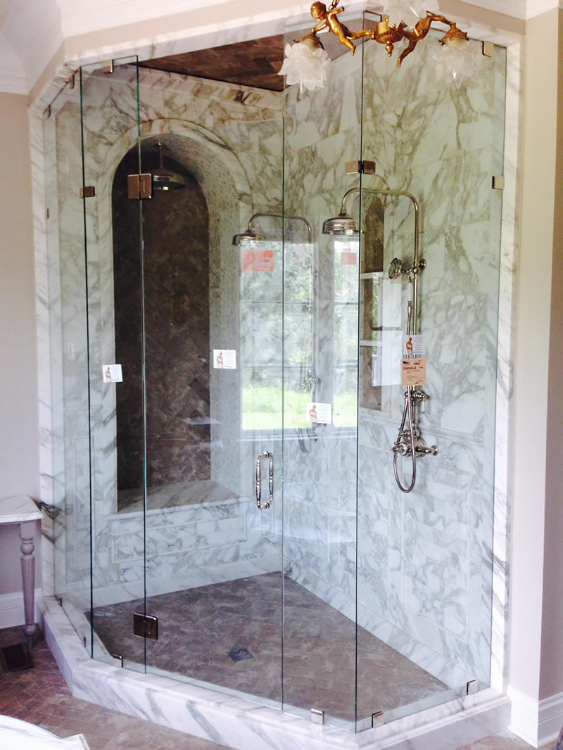 Marble Shower with Glass Shower Doors